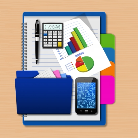 dimensionally: Smartphone with folder and graph  on notebook,creative business,cell phone illustration Stock Photo