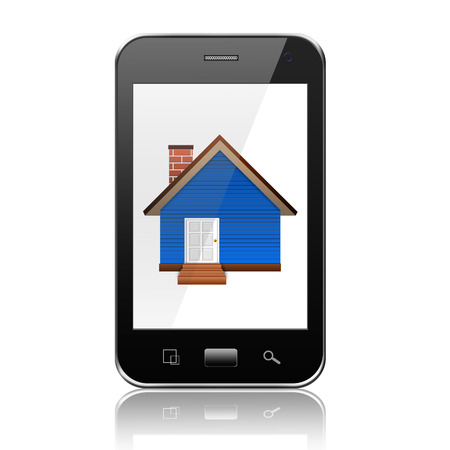 Smartphone with home on display,cell phone illustration illustration