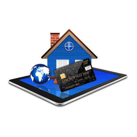 creditcard: Creditcard with home on tablet,tablet illustration