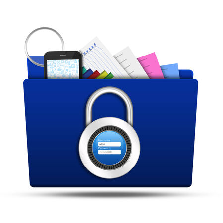 Lock folder with padlock username password photo