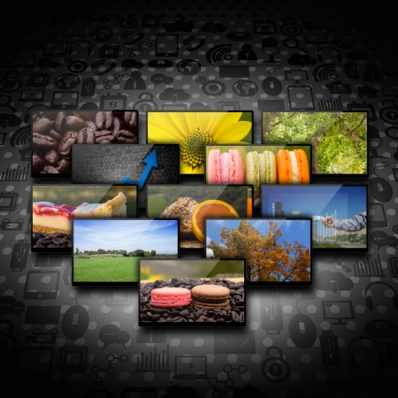 Television and internet production on social  background Stock Photo