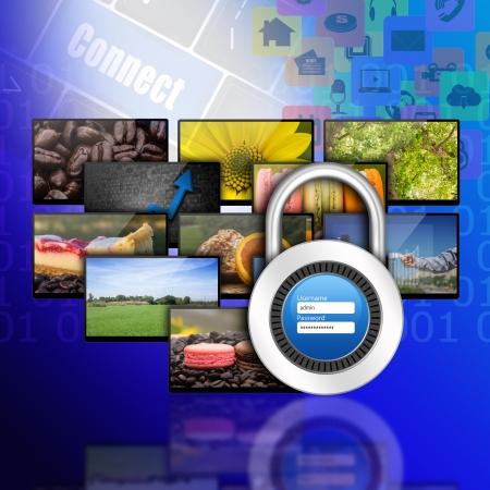 username: Padlock username password on internet production technology concept Stock Photo