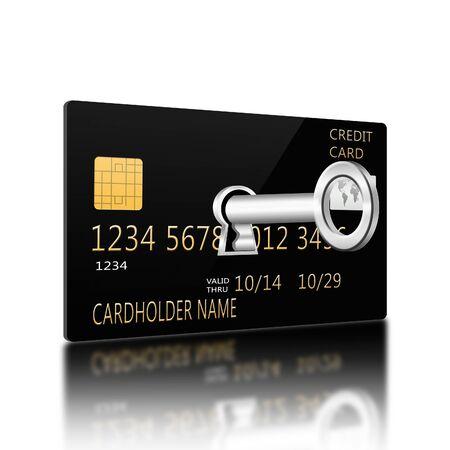 creditcard: Key in keyhole on creditcard