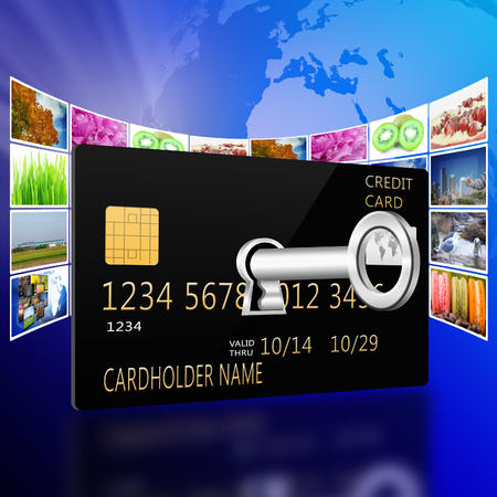 creditcard: Open creditcard with internet production technology concept
