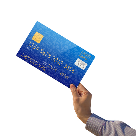 creditcard: Business man holding creditcard  Stock Photo