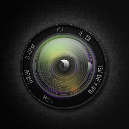 Camera photo lens on social  background photo