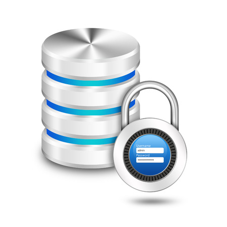 user name:  Padlock with user name password on hard disk and database Stock Photo