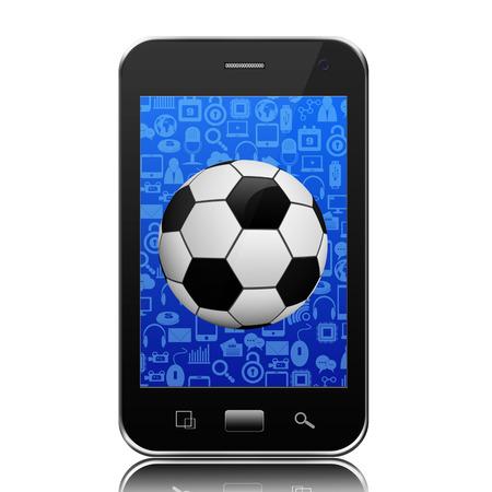 Soccer ball on smartphone,cell phone illustration Stock Illustration - 24766916