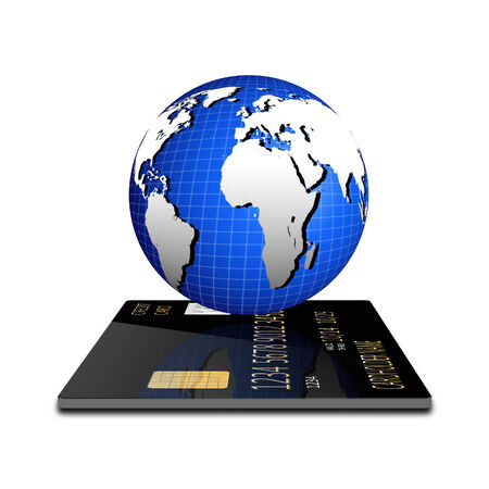 bringing home the bacon: Payment concept. Internet Banking. Credit card with globe Stock Photo
