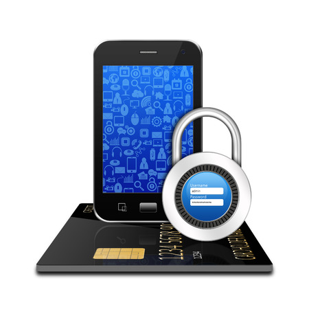 creditcard: Padlock username password  creditcard with smartphone ,cell phone illustration Stock Photo