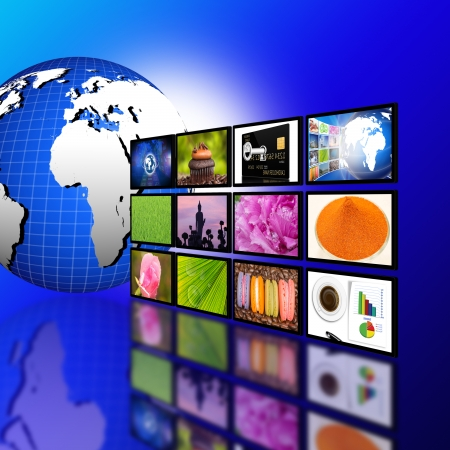 Television with globe internet production technology concept