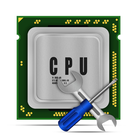 microcontroller: Screwdriver and wrench with modern multicore CPU