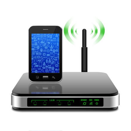 Smartphone with wireless Router with the antenna illustration