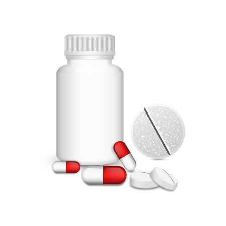 remedy: Blank medicine bottle with red capsules with pill  Stock Photo