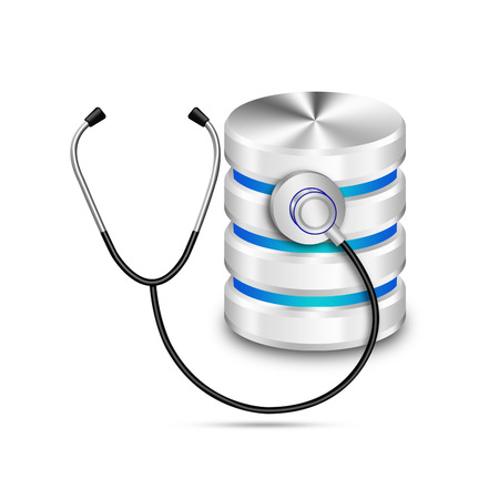 Stethoscope with  hard disk and database isolated on the white background