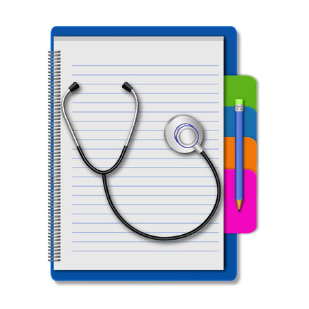 Stethoscope with pencil on notebook photo