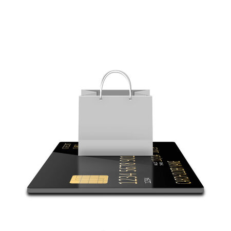 pape: white shopping paper bag on credit card Stock Photo