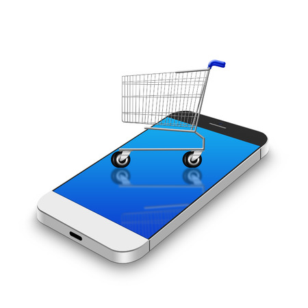 Shopping cart on smartphone Фото со стока
