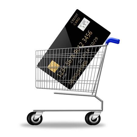 credit card on shopping cart on white background illustration Stock Photo