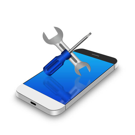 screw driver: Screw driver and wrench on smartphone