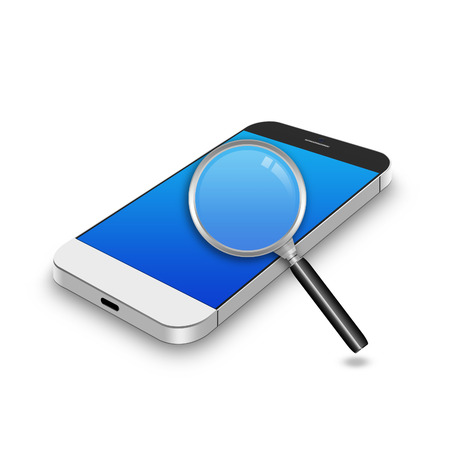 Magnifying glass on smartphone