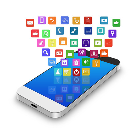 information median: Touch screen mobile phone with colorful application icons