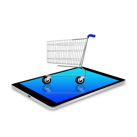 Shopping cart on tablet Stock Photo