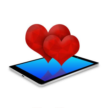 tabletpc: two red heart on tablet ,tablet  illustration