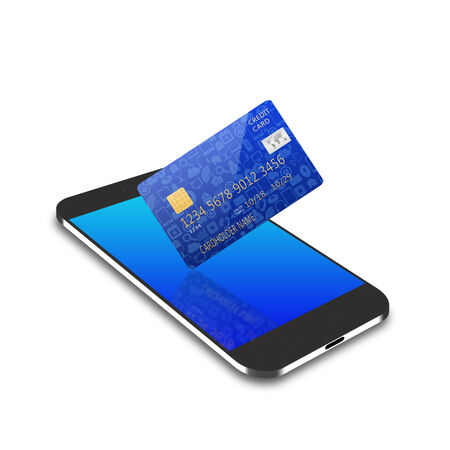 creditcard: creditcard on smartphone,cell phone illustration