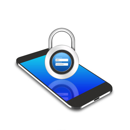 username: padlock username password on smartphone Stock Photo
