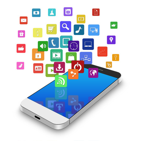 Touch screen mobile phone with colorful application icons