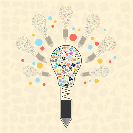 creative pencil with applications graphical user interface flat icons on light bulb