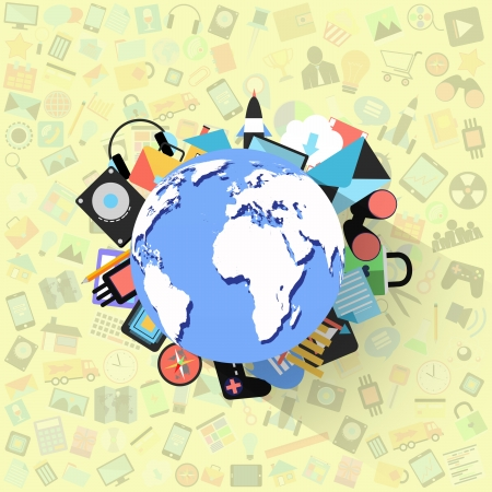 globe on applications graphical user interface flat icons,background photo