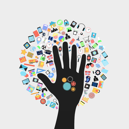 gear on hand with  social applications graphical user interface flat icons Stock Photo