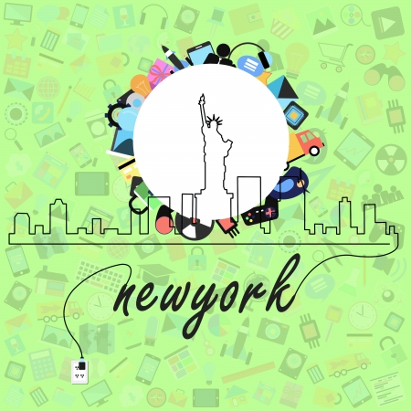 new york city with social applications graphical user interface flat icons photo