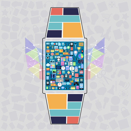 social on smart watch with applications graphical user interface flat icons on abstract background