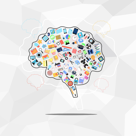 social with brain applications graphical user interface flat icons on abstract background photo