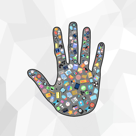 hand with social applications graphical user interface flat icons on abstract background photo