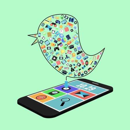 bird with social media  applications graphical user interface flat icons