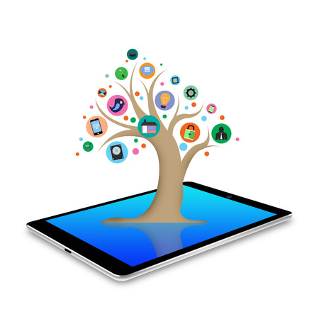 tree with social media  applications graphical user interface flat icons on tablet