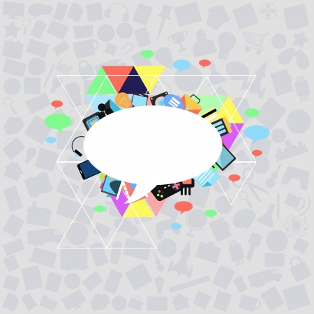 bubble talk with applications graphical user interface flat icons on abstract background photo
