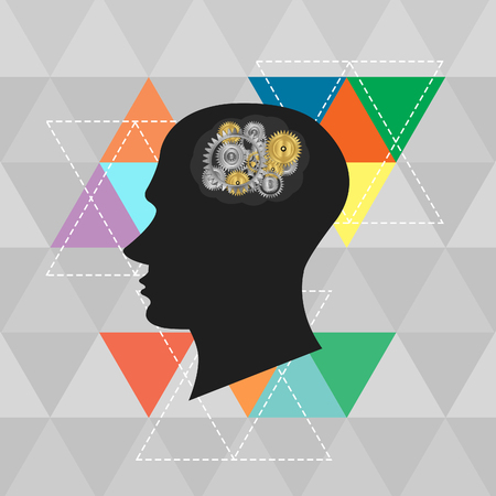 head and Brain Gears on abstract background