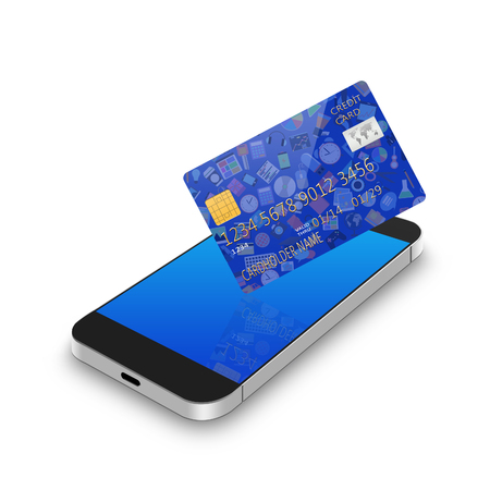 creditcard: creditcard with smartphone,cell phone illustration