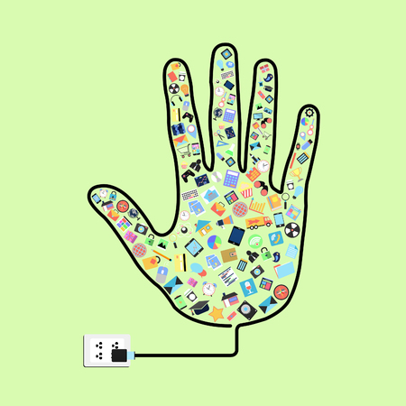 hand with social applications graphical user interface flat icons  Stock Photo
