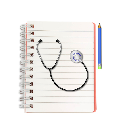 Stethoscope with pencil on  notebook on white background photo