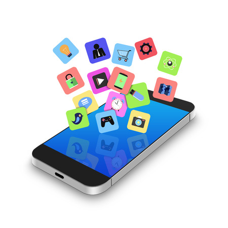 information median: Touch screen mobile phone with colorful application icons,cell phone illustration