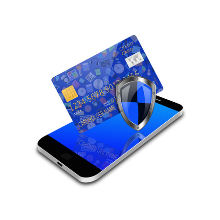 Security concept with social media  and credit card on smartphone,cell phone illustration illustration