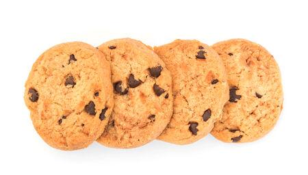 cikolatali: Chocolate chips cookies isolated on white background Stock Photo