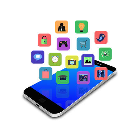 Colorful application icon on smartphone,cell phone illustration illustration