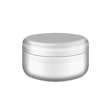 Cream, Gel Or Powder, Light Gray, White, Jar Can Cap Bottle,isolated on white background photo